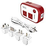 FOVAL Power Step Down 220V to 110V Voltage Converter with 4-Port USB International Power Travel Adapter in UK European Italy Asia More Than 150 Countries Over The World(Red)