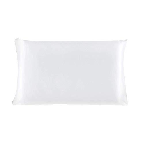 YeVhear - Funda de almohada de seda pura para el pelo y la piel, 19 Momme (1 unidad), color blanco perla estándar (20 x 26 pulgadas)