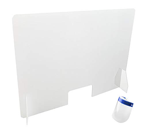 Mamparas Protectoras para Mostrador, Mesas, Barras, Escritorios, tamaño 80 cms de ancho por 60 cms de alto, 3 mm de grosor, ventana de 15 x 26 cm, Metacrilato,color transparente, montaje fácil.