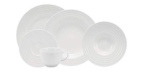 Serviço de Jantar e Chá 30 peças em Porcelana. Modelo Redondo com Relevo Arcos. Branca com Relevo. Fabricado pela Schmidt.