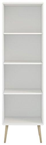 Steens Soft Line, Wandregal, Bücher & Aktenregal mit 3 höhenverstellbaren Einlegeböden, (B/H/T) 49 x 166 x 33 cm, MDF, Weiß, für das Büro oder Wohnzimmer