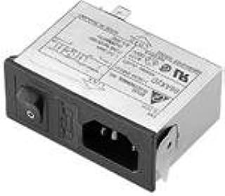 Delta 06AR2D Power Line EMI Filter, Power Entry Conn Recept, C1: 0.015uF, Cy: 3300pF, L1/L2: 2.5/0.7mH, R: 2.2Mohm, 115/250VAC, 50/60Hz, IEC 320-C14 Conn