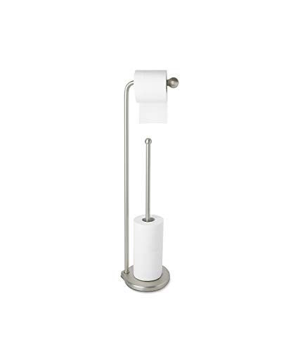 Umbra 022020-410 Teardrop Free Standing Toilet Paper Holder Stand with Reserve – Attractive Toilet Paper Stand Provides Bathroom Storage for up to 5 Toilet Paper Rolls, Brushed Nickel
