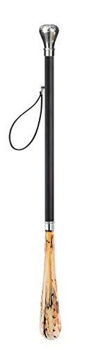 Design Schuhanzieher Schuhlöffel 70 cm mit silbernem Knauf als Griff, schwarzer Holzschaft