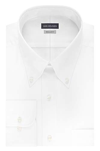 Van Heusen Men's Dress Shirt Regular Fit Non Iron Solid, White, X-Large