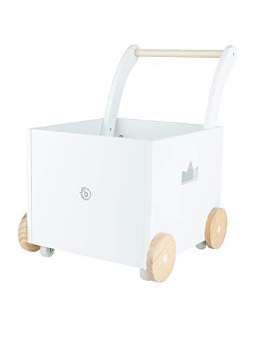 Bieco Lauflernwagen Holz | ab 1 Jahr | Multifunktionale Baby Lauflernhilfe | Laufwagen für Babys in schlichtem Design | Baby Gehhilfe | Lauflernhilfe für Babys | Baby Laufwagen mit Stauraum