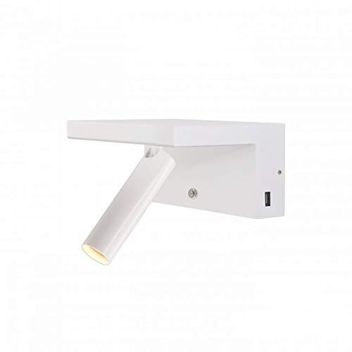 Beneito Faure BEAM 5W 220V 40° 2.700K LED dimmbar, Nachttischlampe, Leselampe mit USB Ladestation (weiß)