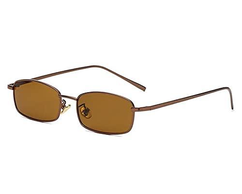 Bmeigo Gafas de sol para mujer, vintage, retro, rectangular, marco de metal, unisex, lentes de moda, UV400, ultraligeras, marrón,