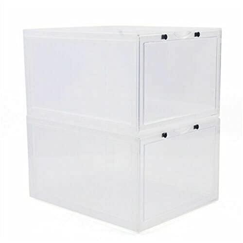 Fetcoi 6 cajas de zapatos magnéticas blancas multifuncionales y prácticas cajas apilables para zapatos apilables, magnéticas
