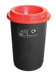 U-Group Ltd - Papelera Redonda de Reciclaje (50 L, Base Negra, Azul, Verde Lima, Gris, Tapa roja o Amarilla y Pegatinas), Color Rojo