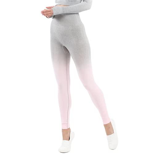 QTJY Medias Deportivas al Aire Libre para Mujer, Pantalones de Yoga con gradiente de Gimnasio, Flexiones, Ejercicio, sentadilla, Estiramiento, Cintura Alta, Pantalones para Correr F L