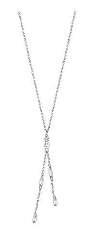 ESPRIT Damen-Halskette Droplets 925 Silber rhodiniert Zirkonia weiß Rundschliff 42 cm - ESNL93332A420