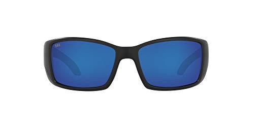 Costa Del Mar Men's Blackfin 580G Round Sunglasses, Matte Black/Polarized Grey Blue Mirrored-580G, 62 mm