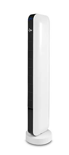 Turmventilator mit Fernbedienung, Timer | Standventilator Schwarz/Weiss | CoolBreeze 9000 TO Slim + Leise 50 Watt | Fan Turm Stand Ventilator 3 Stufen | Windmaschine | Schlafzimmer, Büro | SUNTEC