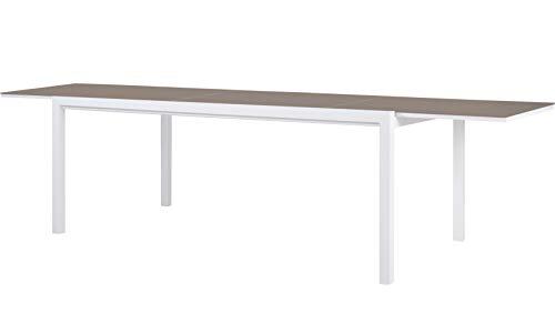 SYD Mesa de Comedor Extensible. Aluminio de Exterior Primera Calidad y Cristal Templado Taupé 200/300x100x74cm