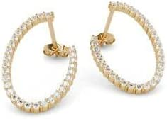 Gift For 1Ct Round-Cut Diamond Open Hoop Wedding Earrings 14K Yellow Gold Plated