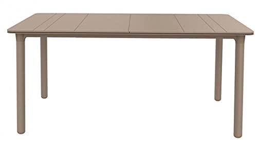 RESOL Noa Mesa de Comedor de Jardín 160x90 Rectangular | 4 o 6 Personas | Elegante y Robusta | Protección UV para Uso Exterior en Patio, Terraza o Porche - Color Marrón Claro Arena