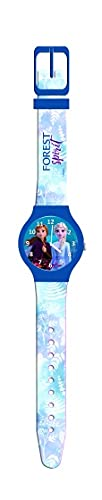 Reloj de pulsera analógico Frozen II Anna y Elsa, color azul