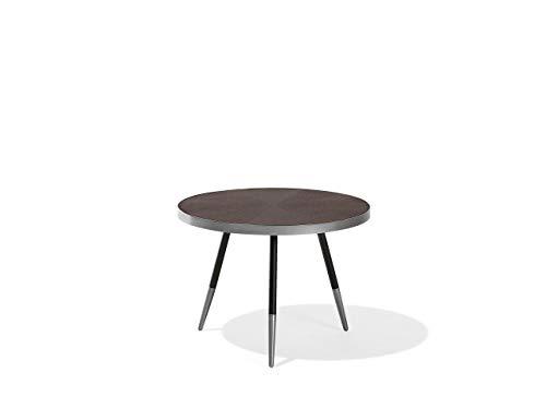 Beliani Retro Couchtisch runder Tischplatte aus MDF schwarz/Silber Ramona