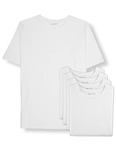 Amazon Essentials - Paquete de 5 camisetas de cuello redondo para hombre grandes y altas, Blanco, 5X
