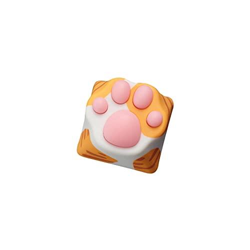 WULE-RYP Colorido diseño de la Pata KeyCaps Keycaps Keyboard Keyboard Soft Silica Gel Key Caps (Color : Yellow Cat keycaps)