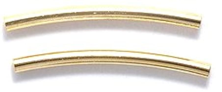 Shipwreck Beads Electroplated Brass Curved Tube, 1 by 20mm, Metallic, Satin Hamilton Gold, 24-Piece