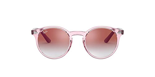 Ray-Ban Junior Kids' RJ9064S Round Sunglasses, Transparent Pink/Red Mirror Red, 44 mm