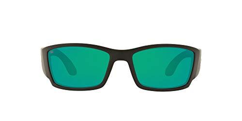 Costa Del Mar Men's Corbina Polarized Rectangular Sunglasses, Matte Black/Copper Green Mirrored Polarized-580G, 62 mm