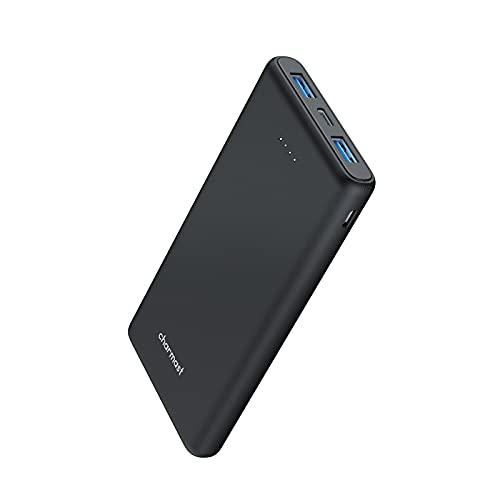 Charmast Power Bank 10000mAh, Ultra Sottile USB C Caricatore Portatile da 5V 2.4A Compatto Batteria Esterna con 2 Ingresso & 3 Uscita per iPhone Samsung Huawei Xiaomi (Nero)