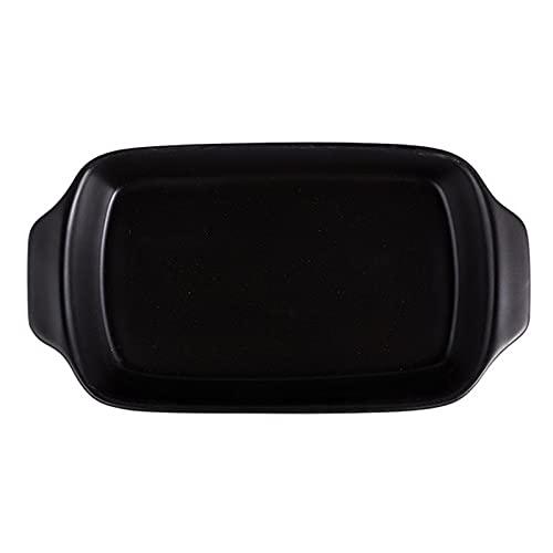 1 Piece Baking Sheet Baking Binaural Baking Tray Rectangular Ceramics 850ml Black