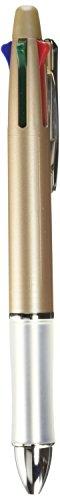 Pilot Multi Function Pen Dr. Grip 4 Plus 1, 0.7mm Acro Ink Ballpoint Pen, 0.5mm Mechanical Pencil, Champaign Gold (BKHDF1SF-CG)