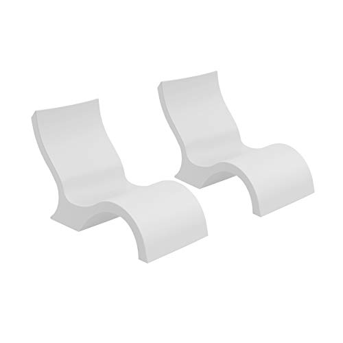 Ledge Lounger Signature in-Pool Low Back Chair for 0-9 inch Water Depths (Set of 2) (White)