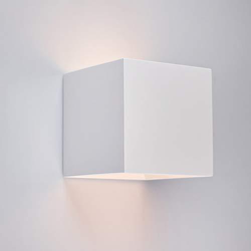 Innenleuchte Wandleuchte Wandlampe aus Gips LORA (Quadratisch, Weiss) Inkl. 1 x LORA Eckig Wandbeleuchtung Leuchte Up-Down, Fassung G9 – Ohne Leuchtmittel