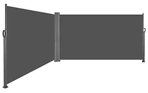 Auvent Store latéral Double Rétractable, Paravent Extérieur, Brise-Vue, Abri Soleil, Résistant aux UV, en Aluminium et Tissu Polyester 280 g/㎡, pour Jardin, Balcon, Terrasse - 600X160cm, Gris