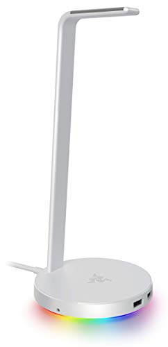 Razer Base Station V2 Chroma Mercury White ヘッドホンスタンド 滑り止めベース付き USBハブ 2ポート RGB対応 【日本正規代理店保証品】 RC21-01510300-R3M1