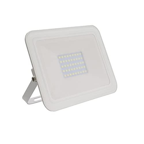DK Multitec - Proiettore LED 30watt Bianco SLIM IP65 Illuminazione parchi giardini terrazze garage Faretto da esterno (K4000)