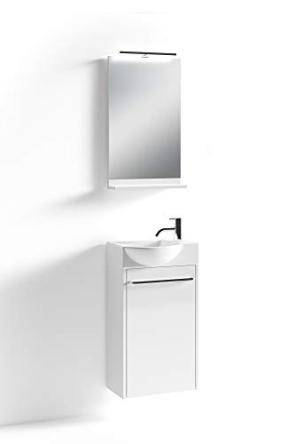 HOMEXPERTS Bad-Set SHINE / Unterschrank inkl. Waschbecken + beleuchtetem Spiegel / Farbe: Korpus und Front Hochglanz weiß / Badezimmer-Schrank / Gäste-Bad / 41 x 128 x 25 cm (B x H x T)