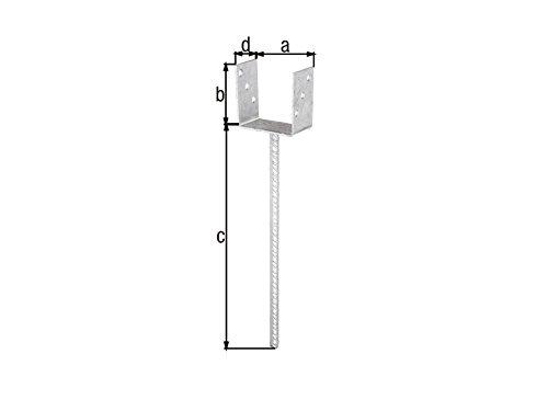 U - Pfostenträger 101 x 100 mm - zum einbetonieren mit Dolle extra lang 400 mm