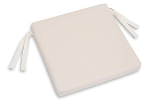 Chillvert KAN200-Cojin Para Silla Hampton Cuadrado 40x40x5 cm Beige Desenfundable, 42 x 42 x 5 cm