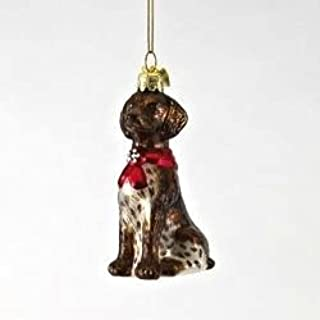 German Shorthair Pointer with Red Bow Glass Christmas Ornament