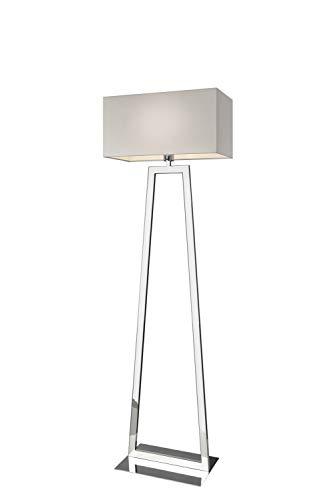 Villeroy&Boch Lyon staande lamp, metaal, 60 W, zilver/wit, H 152 cm, 25 x 48 cm