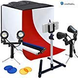 LimoStudio Photography Table Top Photo Light Tent Kit, 24' Photo Light Box, Continous Lighting Kit, Camera Tripod & Cell Phone Holder AGG1069