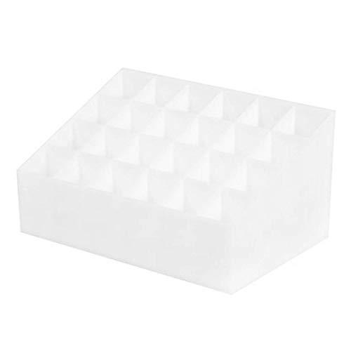 RoxTop 24 Grid Lippenstift Halter Kunststoff Cosmetic Organizer Lippenstifte Display Rack beweglicher Verfassungs-Aufbewahrungsbehälter (weiß)
