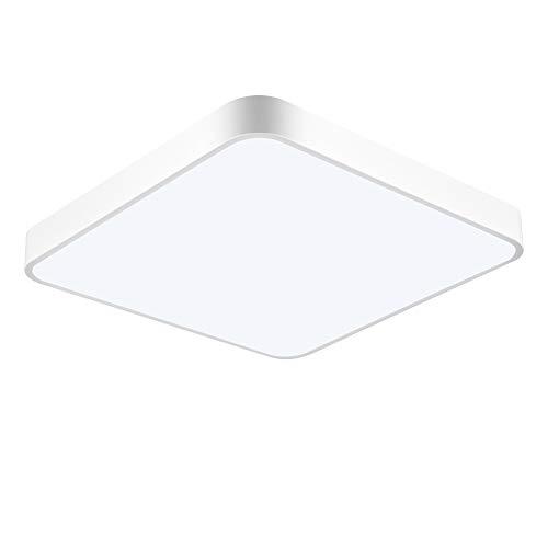 Papasbox LED Deckenleuchte, LED Panel Deckenlampe 24W, 2400lm, Warmweiß (3000K), Quadratisch, IP44 Deckenleuchte 40×40×5 cm Ideal für Schlafzimmer Küche Wohnzimmer Balkon