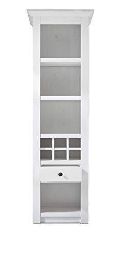 GuenstigEinrichten Regalschrank Landhausstil Hooge in Pinie weiß Landhaus Vitrine mit Weinregal 58 x 207 cm