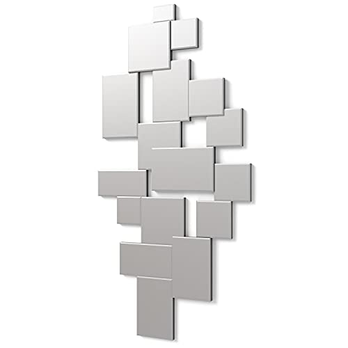 DekoArte E003 - Espejos Decorativos Modernos De Pared   Espejos Decoración para Tu Salón Dormitorio, Entrada, Recibidor   Espejos Sofisticados Grandes Color Plata   140x70cm