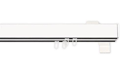 indeko BERN, eckige Gardinenschiene mit Innenlauf aus Aluminium auf Maß, 2-Lauf, weiß, Komplettset mit Zubehör
