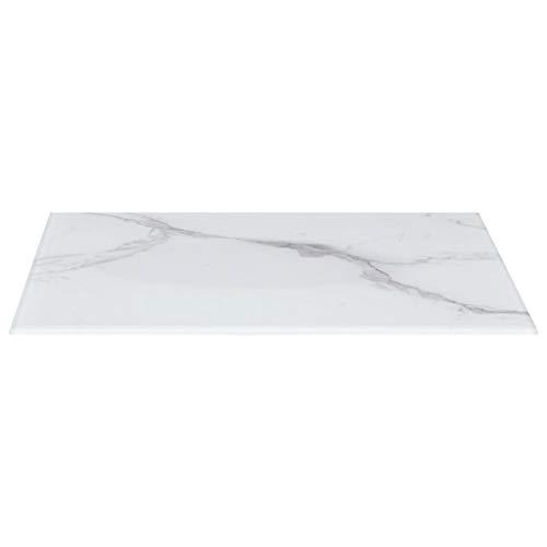 UnfadeMemory Tischplatte Glas Tischplatten ideal als Ersatzteil Glasplatte in Marmoroptik DIY Tisch für Esstisch Couchtisch Beistelltisch oder Gartentische(Rechteckig 100 x 62 cm, Weiß)