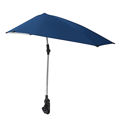 Portable Folding Sunshade Sunproof Beach Chair Umbrella Summer Bicycle Pushchair Umbrella Universal Clamp Fishing Parasol (Color : Blue)