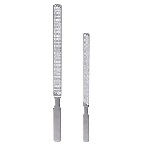 JIHUOO Lima de uñas de acero inoxidable para uñas de uñas de metal, 2 unidades